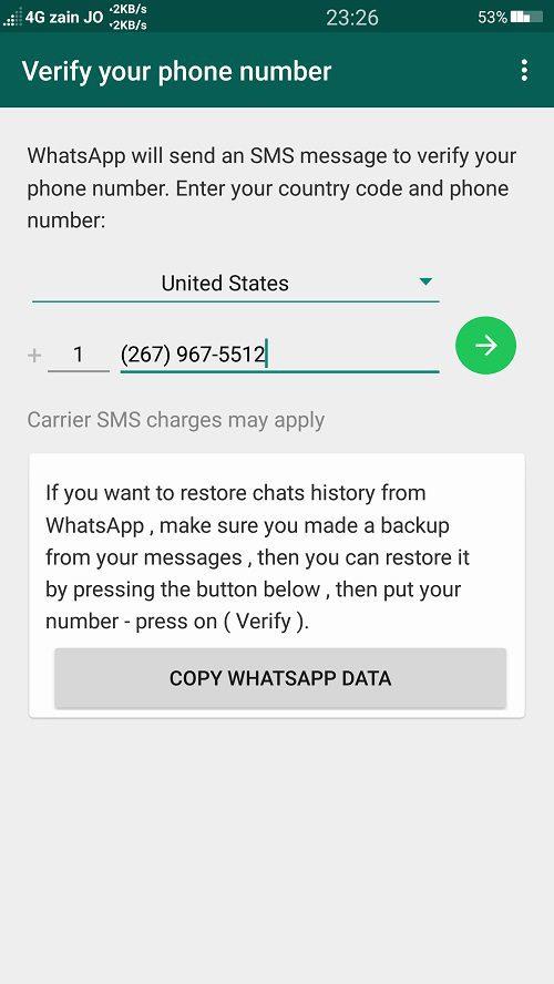 لتفعيل تطبيق الواتساب باستخدام هذا الرقم, اختر الولايات المتحدة الامريكية واكتب رقمك الجديد