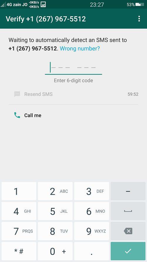متى فشل التطبيق في ارسال رسالة التفعيل الى رقمك الامريكي, اضغط على زر Call Me كي تتلقى اتصالا عبر تطبيق Primo من خوادم الواتساب لتزويدك برقم الكود.