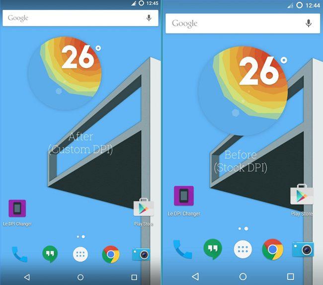 شاشة الهاتف الى اليمين بدقة عرض افتراضية وايقونات كبيرة, والى اليسار تم تصغير مكونات الشاشة.