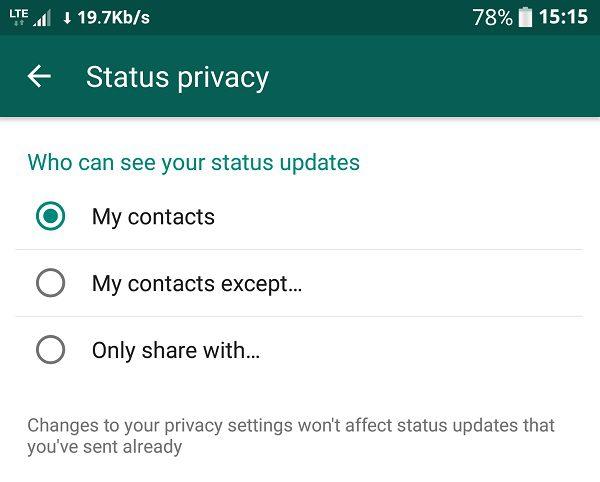 Screenshot 20170302 151540 كيف تتحكم في خصوصية الحالة على الواتساب؟ وكيف تعمل على تعطيلها بالكامل ؟