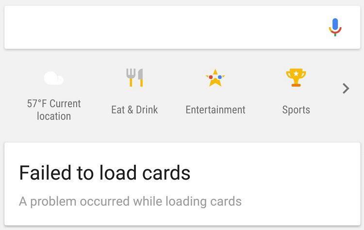 googlenow failedtoload 1 الحل لمشكلة Google Now ورسالة Failed to load Cards