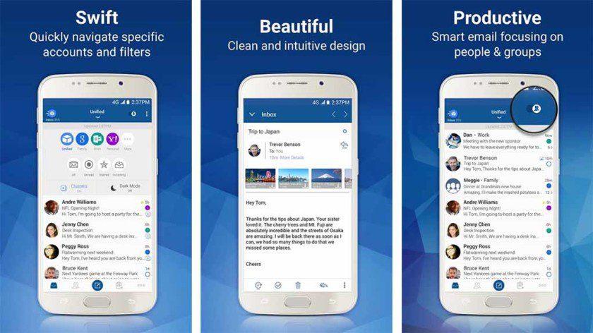 تطبيقات لأكثر من شركة و منصة لإدارة البريد الإلكترونى Blue-Mail-screenshot
