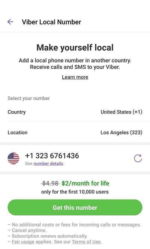 Viber يعطيك رقم هاتف محلي امريكي , كندي او بريطاني