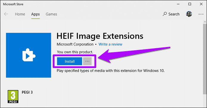 برنامج HEIF image extension