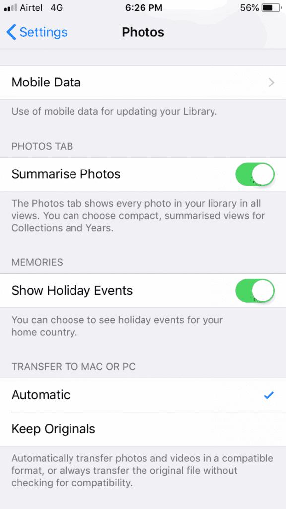 تحويل من HEIC من داخل الهاتف بنظام iOS