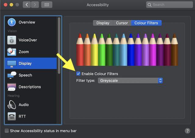 تفعيل فلاتر الألوان