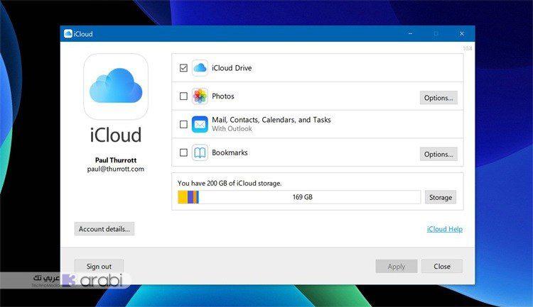 طريقة تثبيت واستخدام خدمة icloud في ويندوز 10