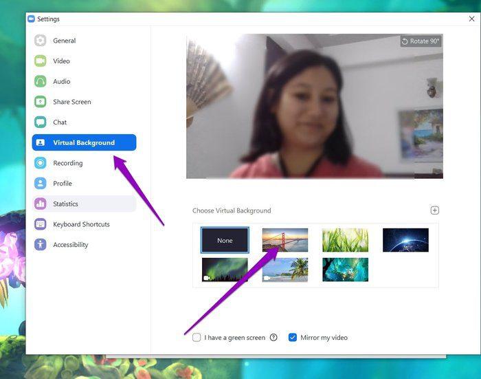 تعيين خلفية افتراضية في تطبيق Zoom 2