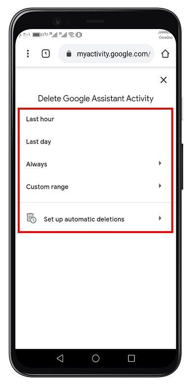 حذف سجل البحث لمساعد جوجل الصوتي 6