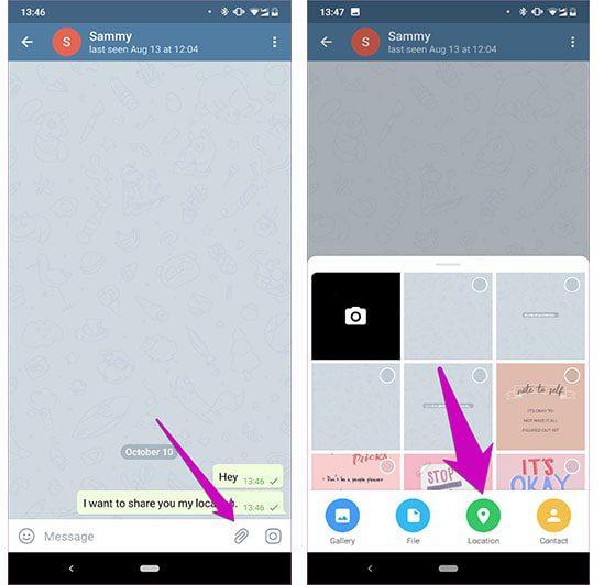مشاركة الموقع الجغرافي في تطبيق تليجرام 1-min