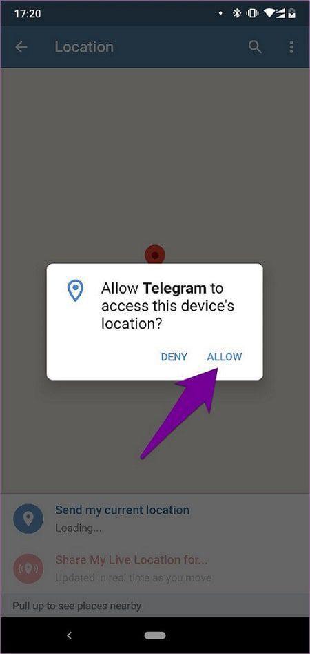 مشاركة الموقع الجغرافي في تطبيق تليجرام 2-min