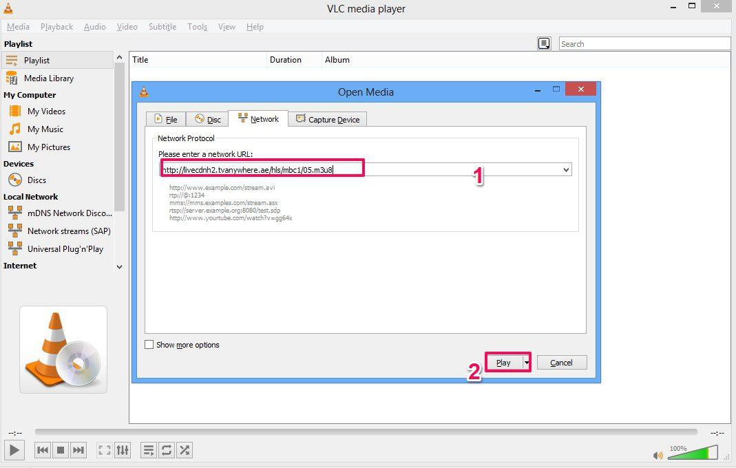 تشغيل روابط على VLC