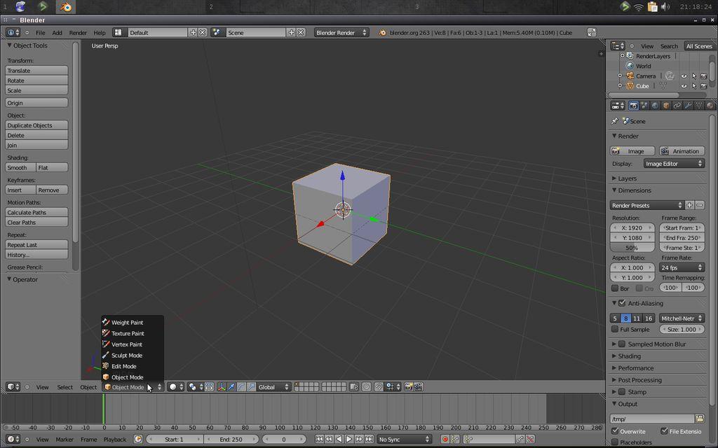 الأوضاع في برنامج التصميم ثلاثي الأبعاد