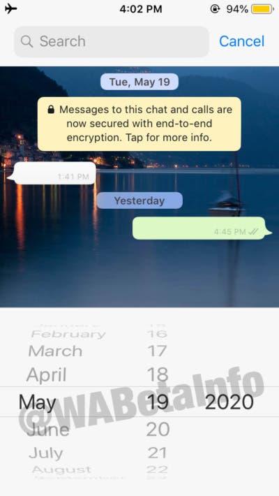 تحديث جديد لتطبيق WhatsApp يسمح لك بالبحث عن الرسائل حسب تاريخ معين