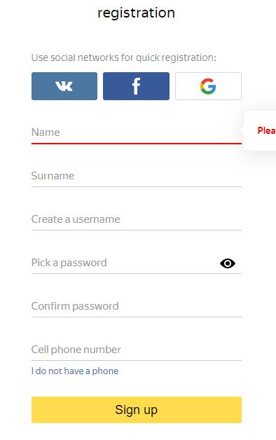 التسجيل في موقع Yandex