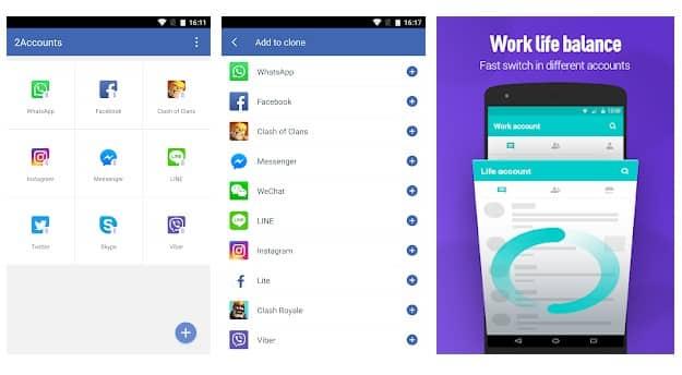 تطبيق 2Accounts مستنسخات التطبيقات لهواتف الأندرويد