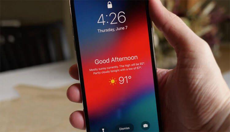 إظهار حالة الطقس على شاشة القفل في هواتف الآيفون