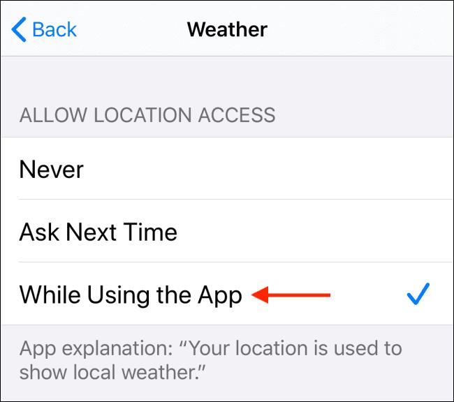 تفعيل خيار While Using the App