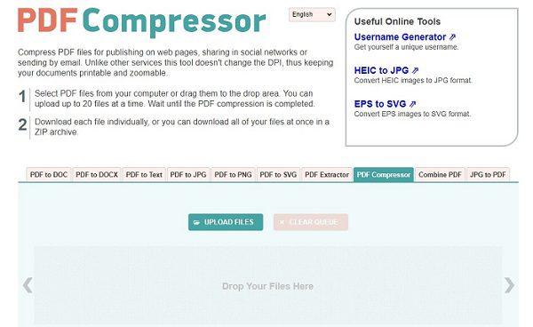 موقع PDF Compressor
