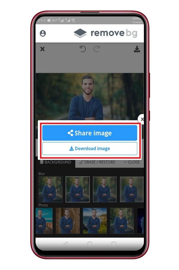 حفظ الصورة في الهاتف من خلال تطبيق remove.bg