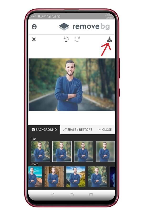 التعديل على الصورة في تطبيق remove.bg