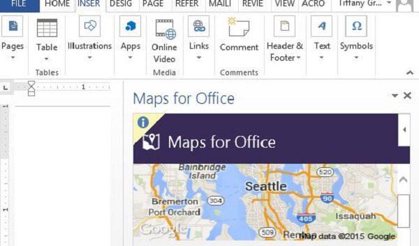 إضافة Maps for Office إضافة مميزة لبرنامج مايكروسوفت وورد