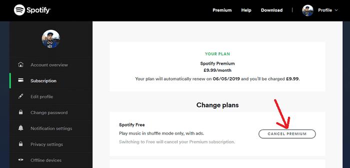إلغاء عضوية سبوتيفاي Spotify 1