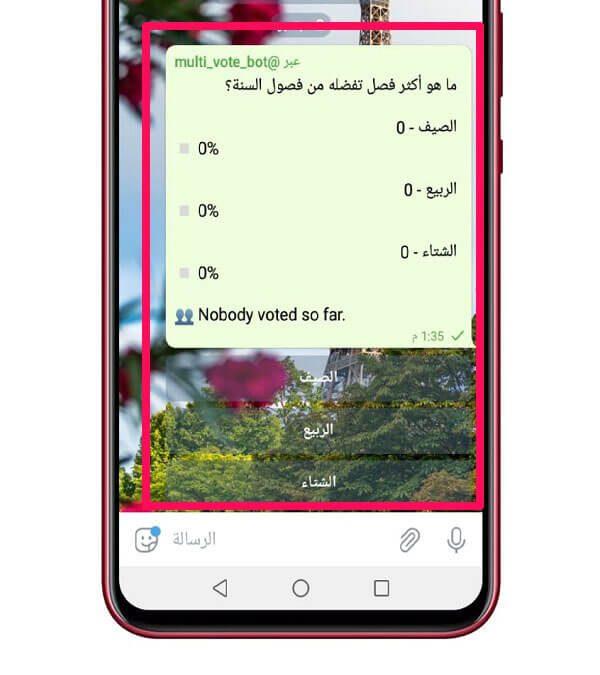 إنشاء استفتاء في تطبيق تليجرام 1