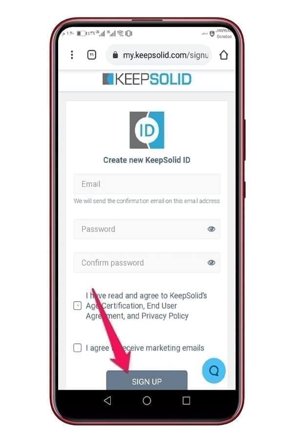 التسجيل في تطبيق كيب سوليد VPN