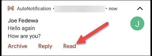 تمييز كمقروء في إشعار البريد الالكتروني Gmail 2