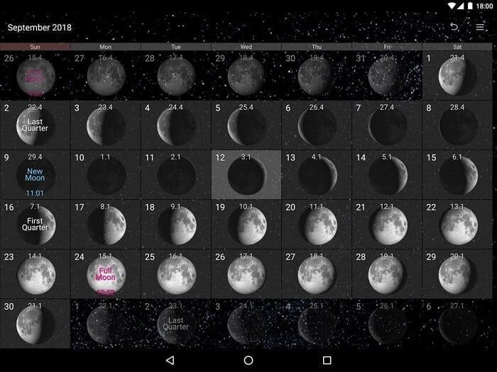 تطبيق Simple Moon Phase Calendar