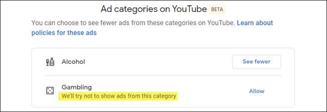 الطريقة الصحيحة لإيقاف إعلانات شركات الكحول والقمار في يوتيوب 2