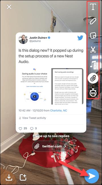 نشر تغريدة تويتر كقصة في تطبيق Snapchat 1