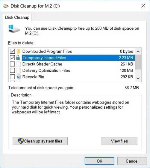 أداة تنظيف القرص Disk Cleanup 1