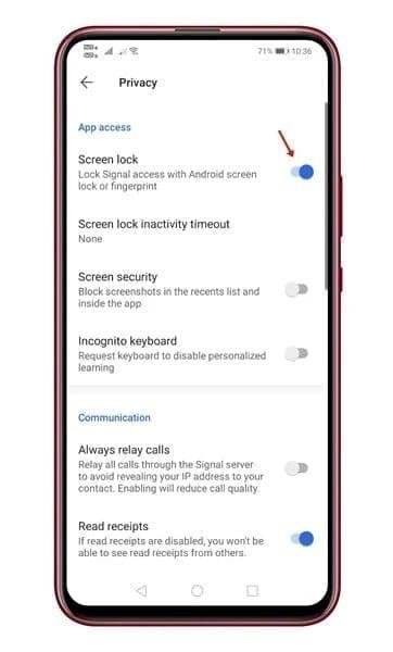 قفل شاشة التطبيق مزايا في تطبيق المراسلة الفوري سيجنال