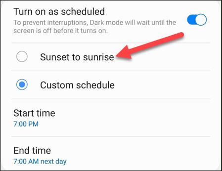 تفعيل الوضع المظلم تلقائيًا بمجرد غروب الشمس في هاتف الأندرويد 2
