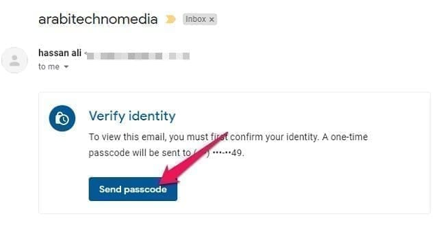 ارسال بريد الكتروني محمي عبر خدمة Gmail 2