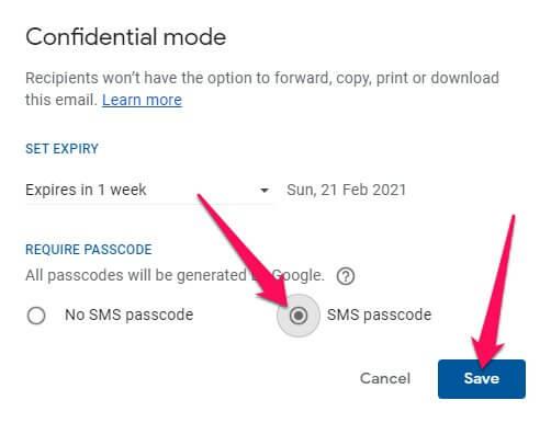 ارسال بريد الكتروني محمي عبر خدمة Gmail