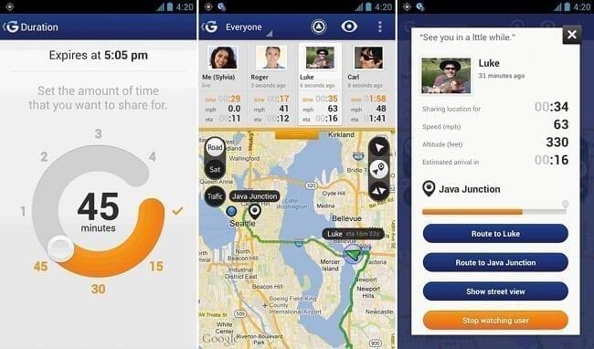 تطبيق Glympse تطبيقات لمراقبة الهواتف ومعرفة مواقعها
