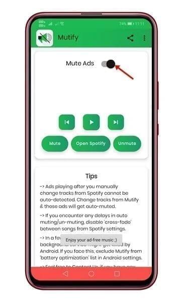 كتم صوت الإعلانات في تطبيق Spotify