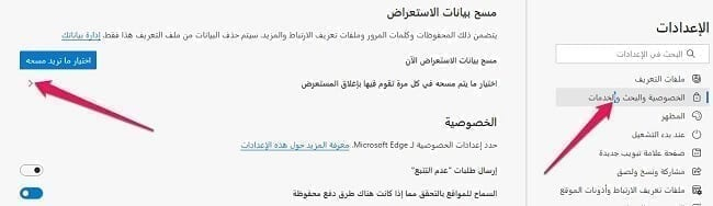 حذف السجل تلقائيًا في متصفح مايكروسوفت ايدج 2