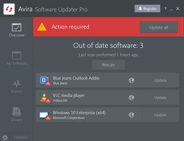 برنامج Avira Software Updater