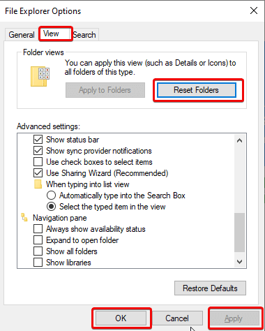 إعادة تعيين العرض الافتراضي لـ File Explorer 1
