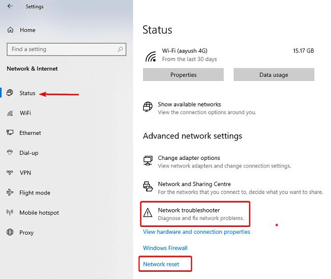 لدي اتصال WiFi لكن لا يوجد انترنت في حاسوبي المحول 1
