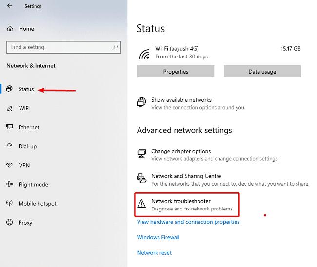 لدي اتصال WiFi لكن لا يوجد انترنت في حاسوبي المحول 2