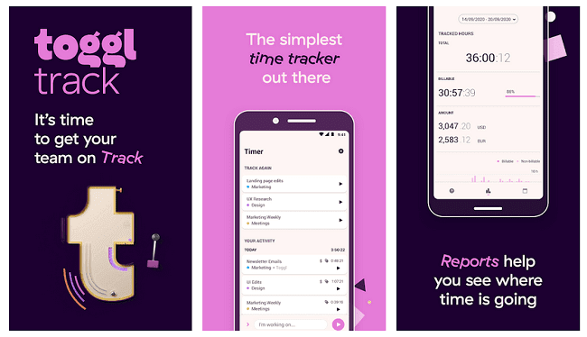 تطبيق time tracking Toggl