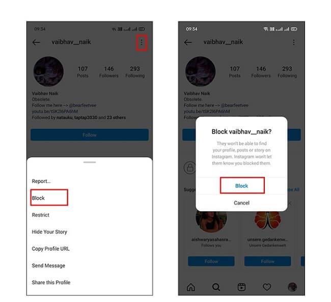 حظر أو إلغاء حظر شخص ما على Instagram