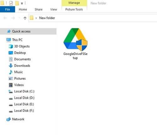 قرص جوجل درايف في مستكشف ملفات ويندوز 10 1