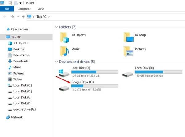 إضافة قرص خاص بخدمة Google Drive إلى مستكشف الملفات 3