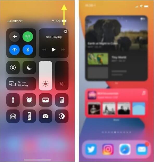 إظهار نسبة البطارية باستخدام مركز التحكم في هاتف الآيفون 1
